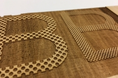 Initial test of the letterform texture using laser cutter